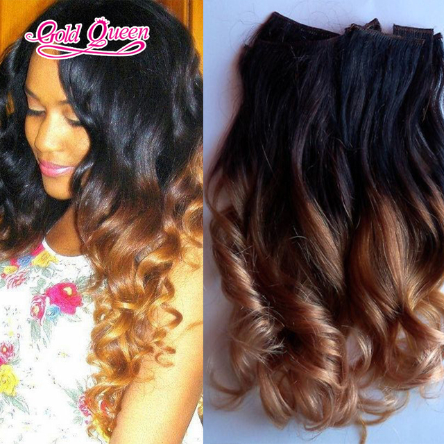 wholesale posh wave hair clip in hair extensions for black women ombre two  tone clip in hair extension 7pcs set ab7876d763