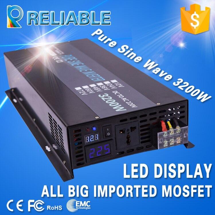 Fuera de la red inversor de onda sinusoidal pura potencia 24 V 220 V 3200 W Panel Solar inversores convertidores 12 V/ 36 V/48 V/96 V DC a 120 V/230 V/240 V AC