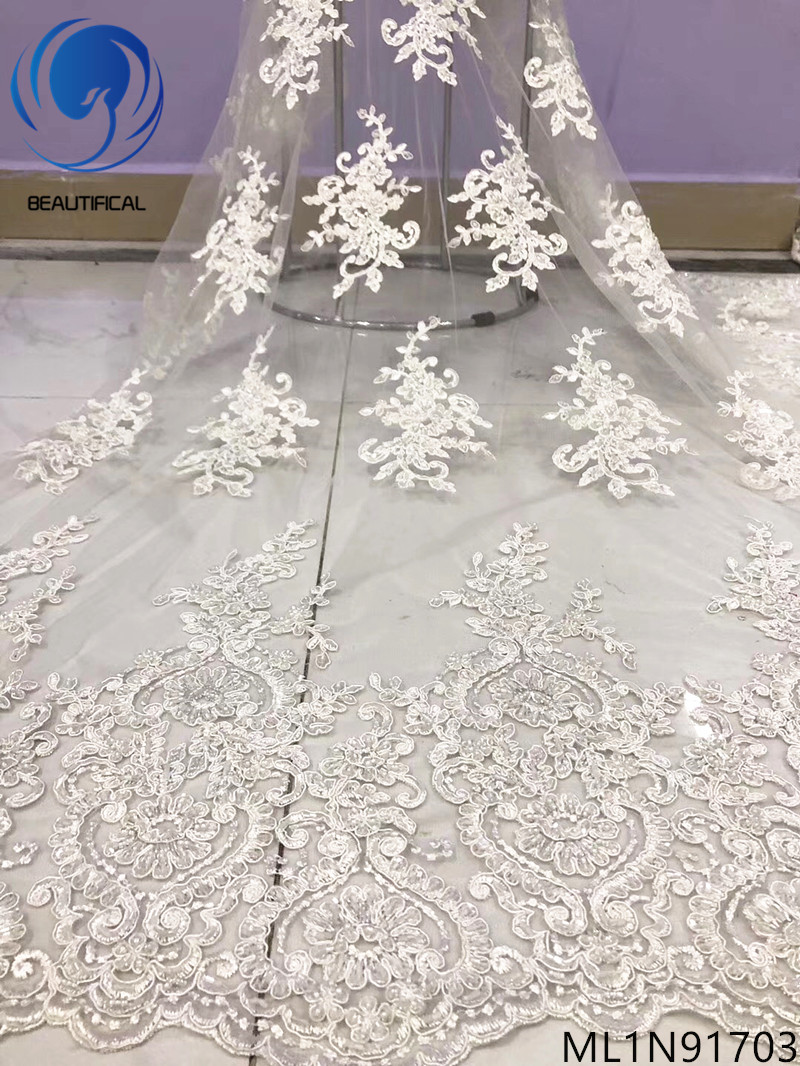 Beautifical white french lace fabrics 2019 New exquisite embroidered nigerian net lace 5yards lace sequins fabric ML1N917Beautifical white french lace fabrics 2019 New exquisite embroidered nigerian net lace 5yards lace sequins fabric ML1N917