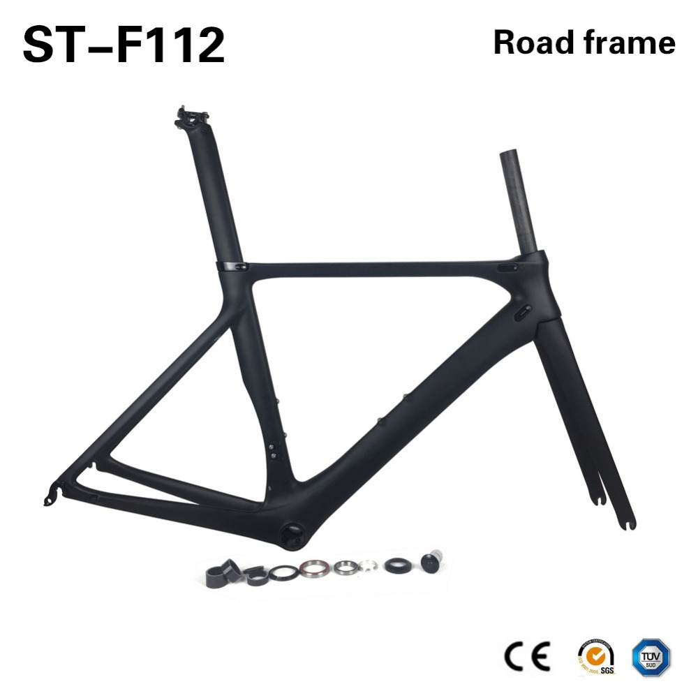 SmileTeam Ultraligh Aero Carbon Fiber Road Bike Frame UD Matte Carbon Racing Bicycle Frameset With Frame Fork Headset Seatpost smileteam new 27 5er 650b full carbon suspension frame 27 5er carbon frame 650b mtb frame ud carbon bicycle frame