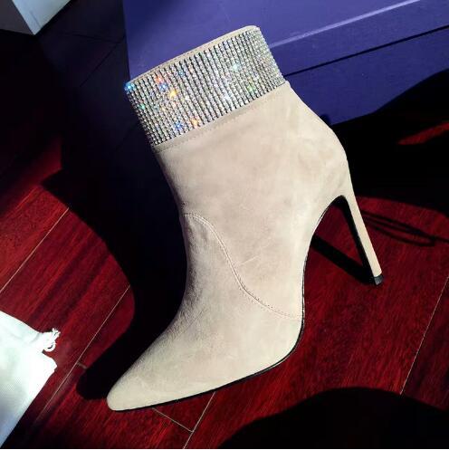 LTTL Bottes Femmes Winter Women Ankle Boots Pointed Toe High Heels Rhinestone on The Top Women Slim Short Boots Women Shoes