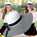 Женский праздник пляж шлемов sun Caps 2017 Лето Полосой сращивание Складная Флоппи Вс Шляпы Дамы сомбреро бантом соломенная шляпка девушки