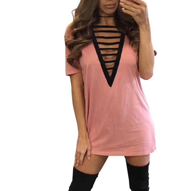 Women Summer Sexy Deep V neck Bandage Bodycon Short Sleeve Solid Color Party Short Lady Mini Dress