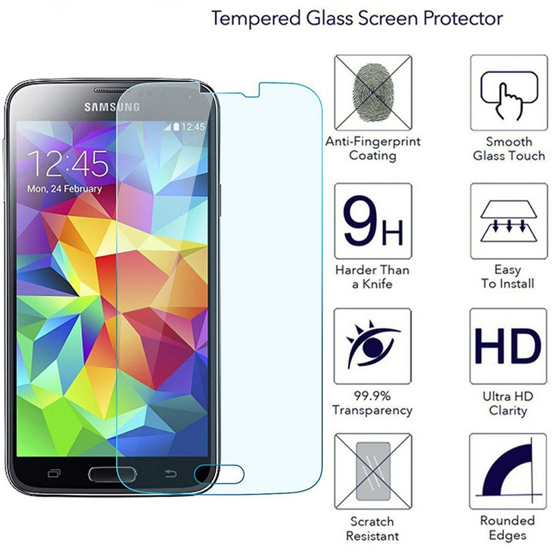 9H Tempered Glass For Samsung Galaxy S5 G901F G900F S5 NEO G903F SM-G903F S5 I9600 S5 Mini G800 Protective Capa Screen Protector(China)