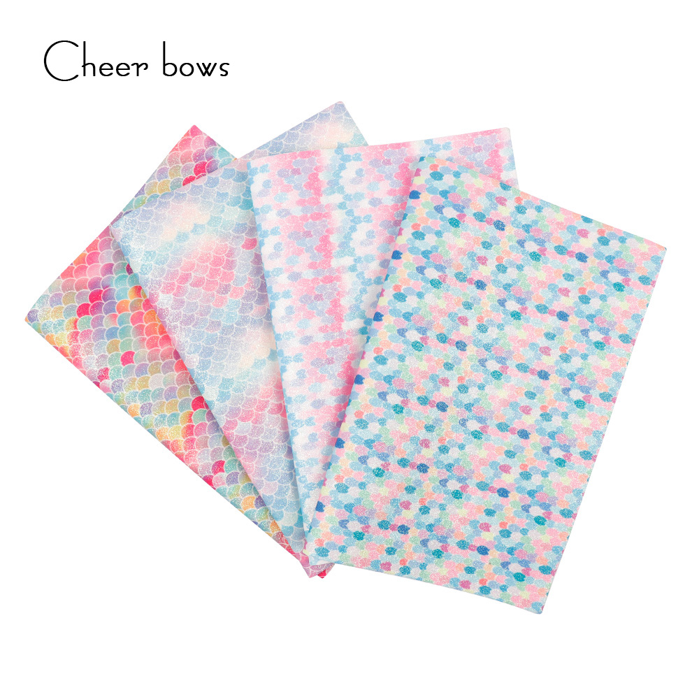 22*30 cm colorido patrón sirena Glitter tela DIY Ropa Accesorios ...