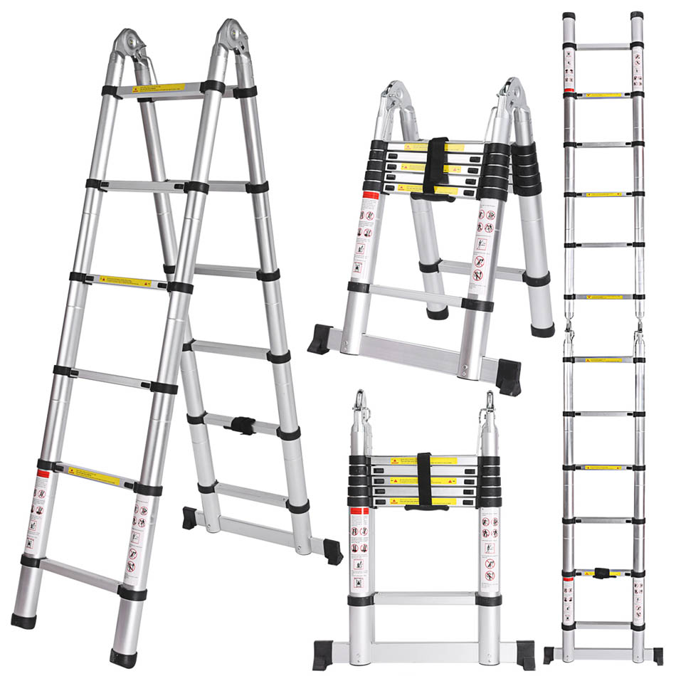 Ancheer 3.8M Multi-Purpose Aluminium Telescopic Ladder Extension Extendable Folding Ladder Extension Home Outdoor Ladder