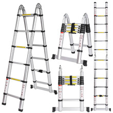 Tools - Construction Tools - Ancheer 3.8M Multi-Purpose Aluminium Telescopic Ladder Extension Extendable Folding Ladder Extension Home Outdoor Ladder