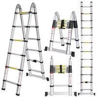 Ancheer 3.8M Multi Purpose Aluminium Telescopic Ladder Extension Extendable Folding Ladder Extension Home Outdoor Ladder