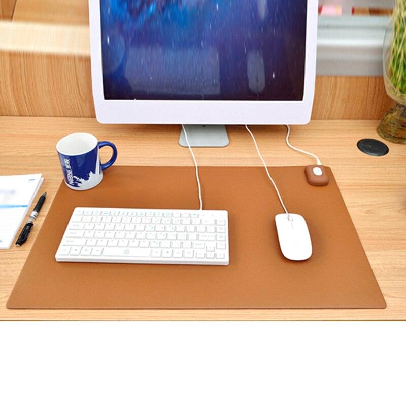 Nouveau hiver plus chaud bureau Table ordinateur tapis de souris PU étanche bureau clavier tapis jeu électrique coussins chauffants US Plug