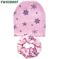 New Fashion Snowflake Print Cotton Children Hat Scarf Collar Boys Girls Beanies Cap Autumn Winter Kids Scarf Baby Hat Scarf Set