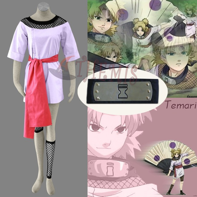 43ffaf646 Athemis Hot Selling NARUTO Temari Cosplay Costumes Japanese Black Kimono  and Dress Half Sleeves Anime Outfit Black Headband Gift