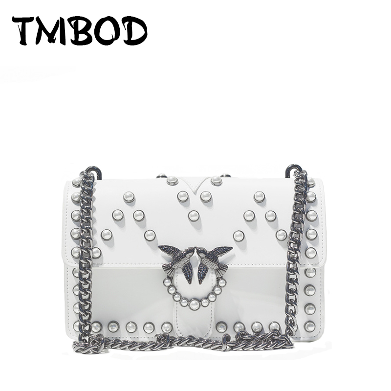 Hot 2018 Classic Retro Birds Flap with Pearl Crossbody Bag Women Split Leather Handbags Lady Messenger Bag For Female an1035 hot 2017 classic cute bow crossbody bag with studs women split leather handbags lady bag messenger bag for female an735