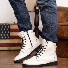 2016 New Fashion Casual Zipper Ankle Boots For Men's Autumn Hot Sale Men PU Leather Rivet Martin Boots Lace up botas hombre Z148