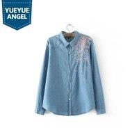 Women Denim Blouse Shirt Plus Size Long Sleeve Embroidery Floral Shirts 2019 Autumn Winter Clothing Female Tunic Blusas Femme