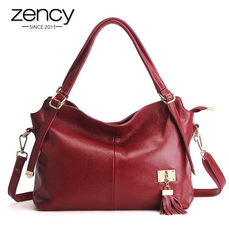 Zency 100% из мягкой натуральной кожи Для женщин сумка с кисточкой роскошный бордовый Сумочка женская через плечо кошелек Сумка Tote