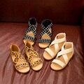 J.g чен летние девушки рим обувь просто рома девушки сандалии резинка эластичной ткани 3 конструкций детская обувь леопарда обувь