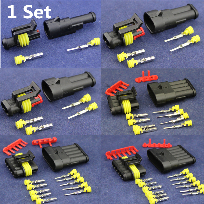 1 Set  1/2/3/4/5/6  Pin to choose Seal Waterproof Electrical  Automotive Wire Connector Plug Terminals for Car Free Shipping 2 3 4 6 pin 2 3 4 6 way sealed waterproof automotive marine electrical wire connector plug set car truck kit