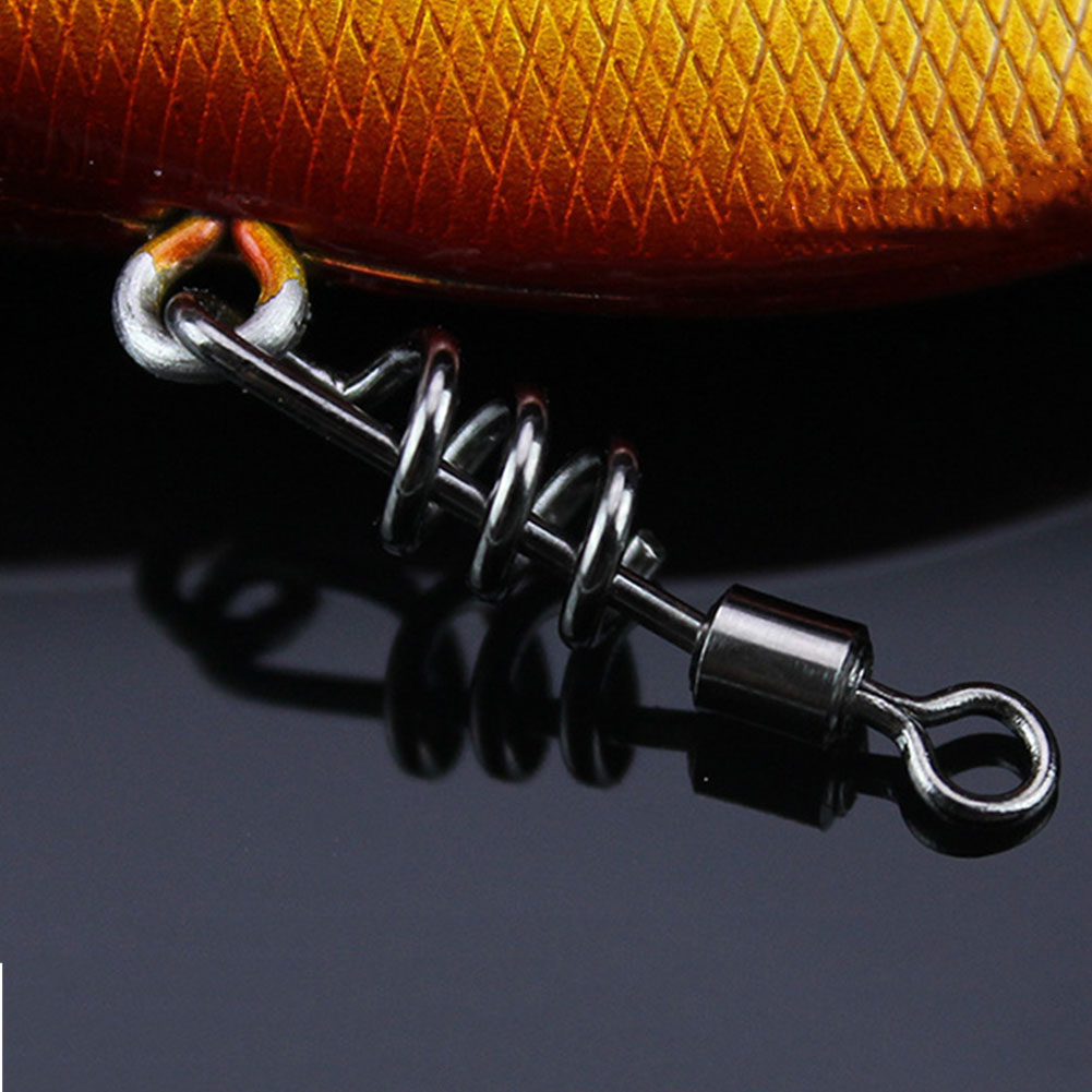 20pcs/set Fishing Swivel Sea Stainless Steel Convenient Tackle Heavy Duty Snap Solid Ring Outdoor Sports Fast Rotating Connector