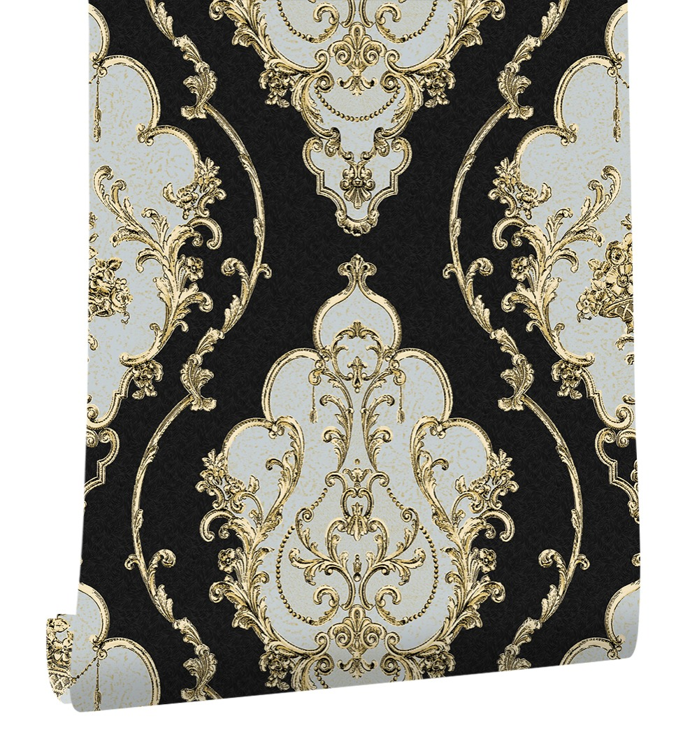 Haokhome Modern Luxury Heavy Texture Victorian Damask Wallpaper Black/Gold/Brown/Silver 3d Living Room Bedroom Home Art Decor