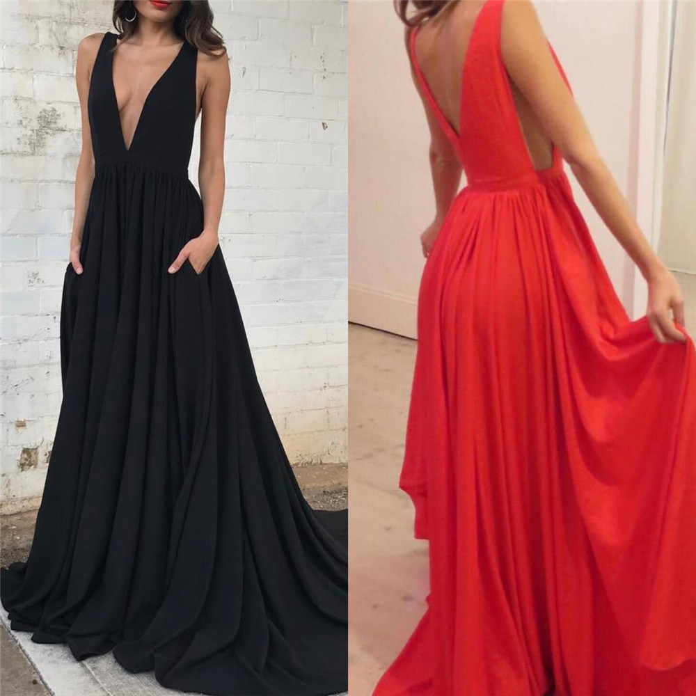 Sexy Long Black   Bridesmaid     Dresses   Deep V Neck Sweep Train A Line Elastic Satin Formal Occasion Gowns 2019 Wedding Party   Dress