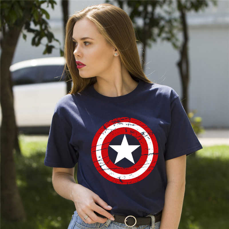 Fashion Women Clothes Short Sleeve Tshirt Hot High Quality Cotton Girl's Captain America Printed Funny T Shirt Women