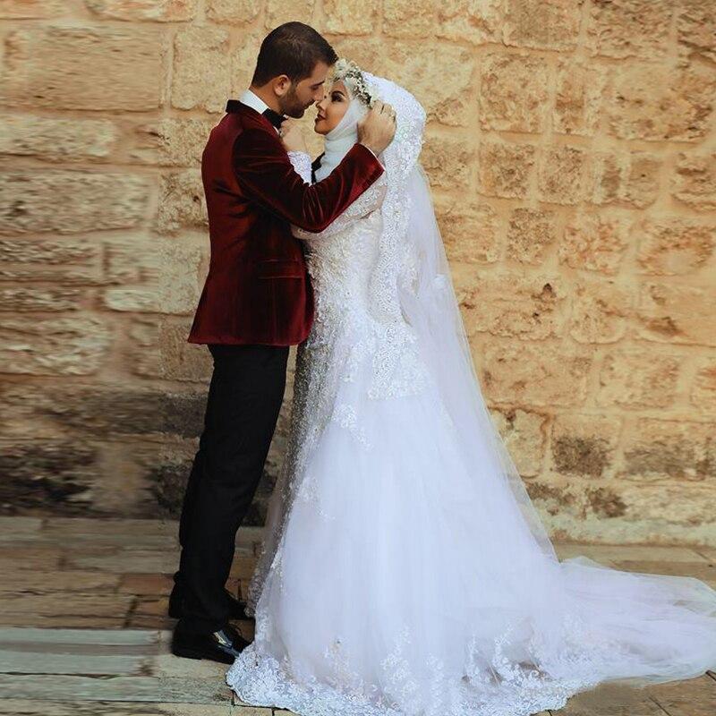 c39a1deab655 Nuovo merletto di arrivo vintage guaina abiti da sposa musulmana manica  lunga modest abito da sposa con il treno staccabile vestido de noiva in  Nuovo ...