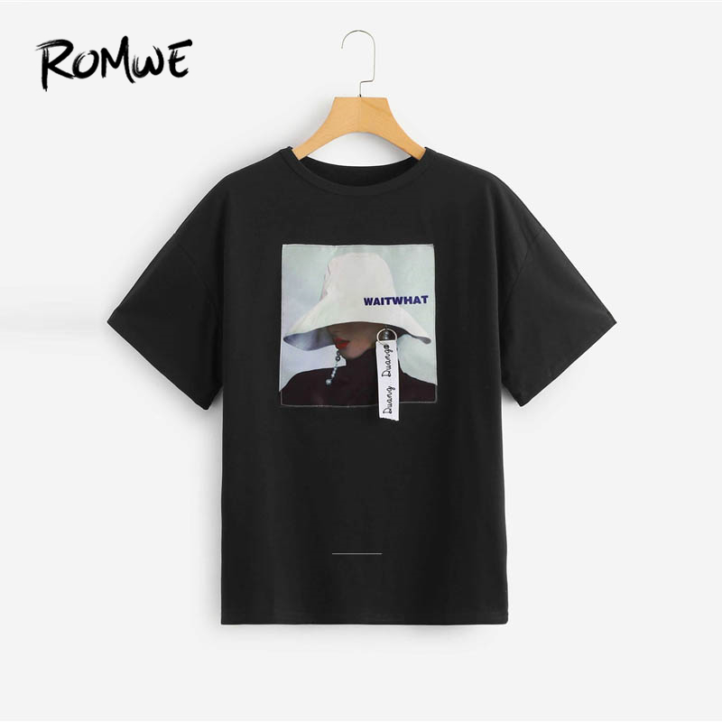 ROMWE Graphic Applique Tee 2019 Women Casual Black Clothing Short Sleeve Longline Round Neck T-shirt Summer Fashion T Shirt