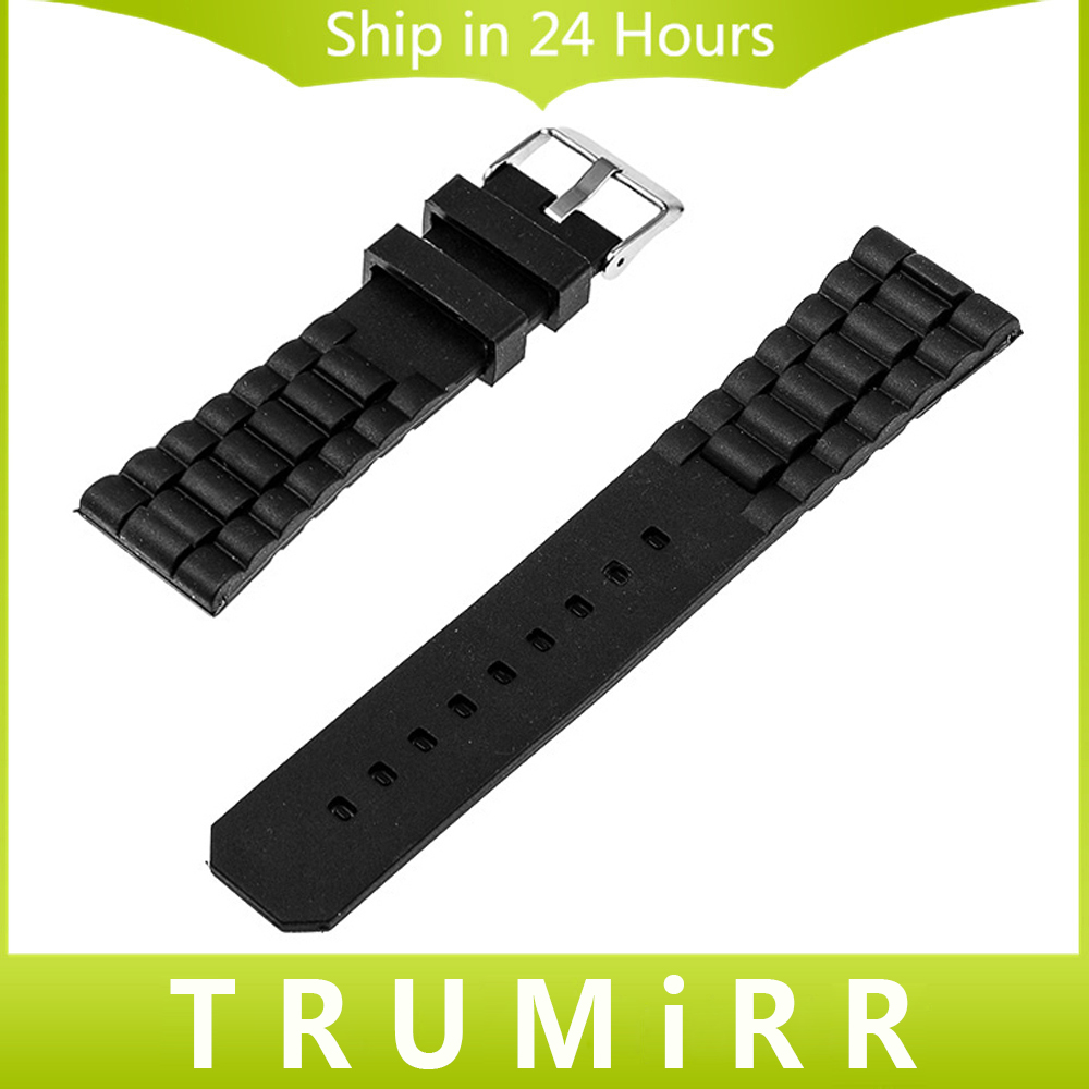 20mm 22mm 24mm Black Silicone Rubber Watchband Universal Replacement Watch Band Resin Bracelet Stainless Steel Buckle Strap black blue gray red 18mm 20mm 22mm waterproof silicone watchband replacement sport ourdoor with pin buckle diving rubber strap