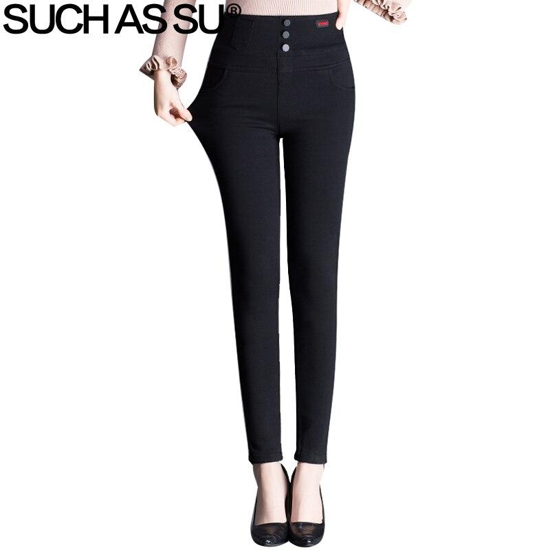 New Winter 2018 Plus Velvet Warm Skinny Pants Women Black High Waist Button Long Pants M 3XL Size Femme Slim Pencil Trousers