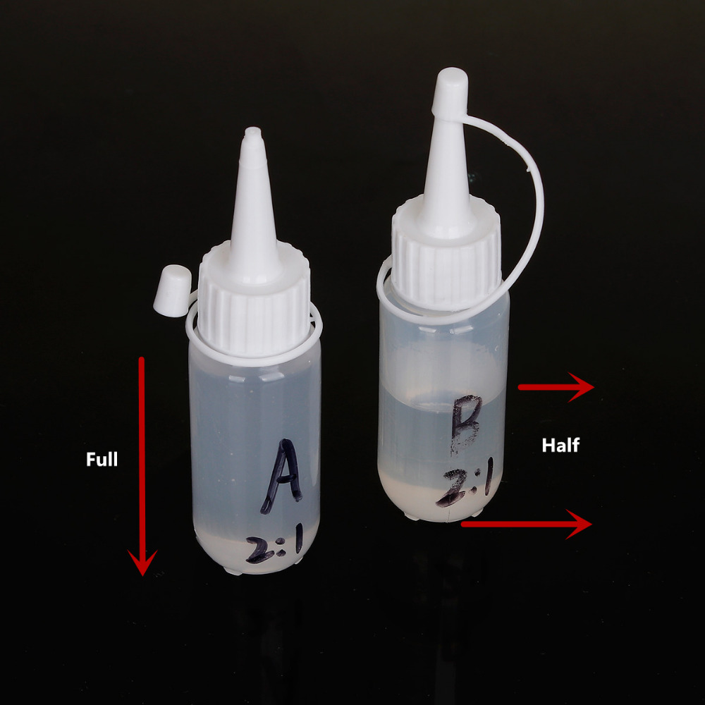 Doreen Box Crystal Clear Resin Epoxy Resin AB Glue White For Jewelry Making DIY 11.5cm x 3cm, 1 Set(Half Bottle in B) 2017 new diy epoxy resin molds necessary jewelry making tool kit with scale resin ab glue free shipping
