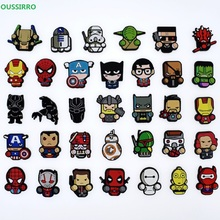 1Pcs PVC Super Hero Avengers Shoe Charms Shoe accessories Shoe decoration Shoe Buckles Accessories Fit Wristband/Croc JIBZ W2747 16pcs mickey minnie pvc shoe charms shoe accessories shoe buckle for wristbands croc kids favor gift