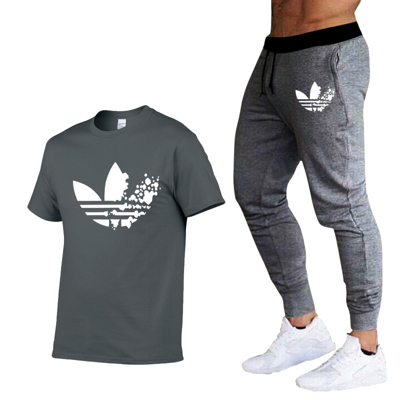 High quality Males's Units T Shirts+pants males Model clothes Two piece swimsuit tracksuit Trend Informal Tshirts Gyms Exercise swimsuit T-Shirts, Low cost T-Shirts, High quality Males's Units T Shirts+pants...