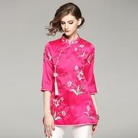 Women Royal Embroidry Silk Blouse Shirt Tops Spring Summer 2018 Chinese Style Original Design Elegant Lady