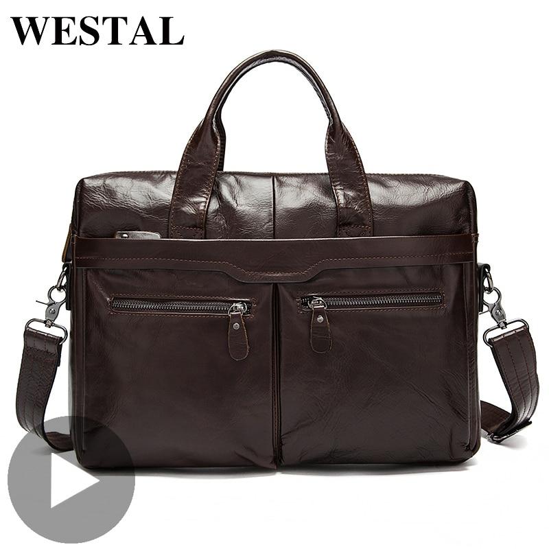 Westal Genuine Leather Briefcase Shoulder Business Messenger Women Men Bag For Document Work Handbag Male Female Laptop Computer