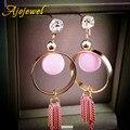 Ajojewel bonito geométrica triângulo círculo borla rosa brincos de cristal da gota brincos para as mulheres da moda jóias coreano 2017
