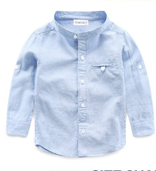 2018 autumn children's clothes boys shirts solid long sleeve stand collar cotton baby boy causal shirts for boys kids shirt top