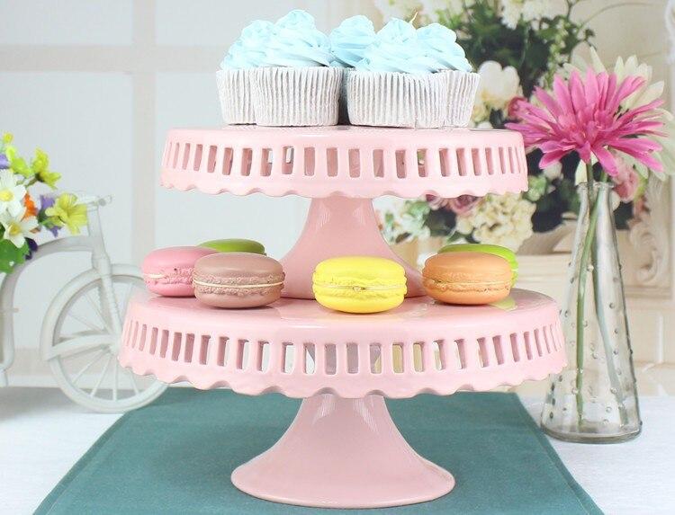 En gros 8 pouce 10 pouce 12 pouce creux en céramique gâteau stand de mariage rose moule à gâteau plaque de gâteau de mariage gâteau décoration affichage
