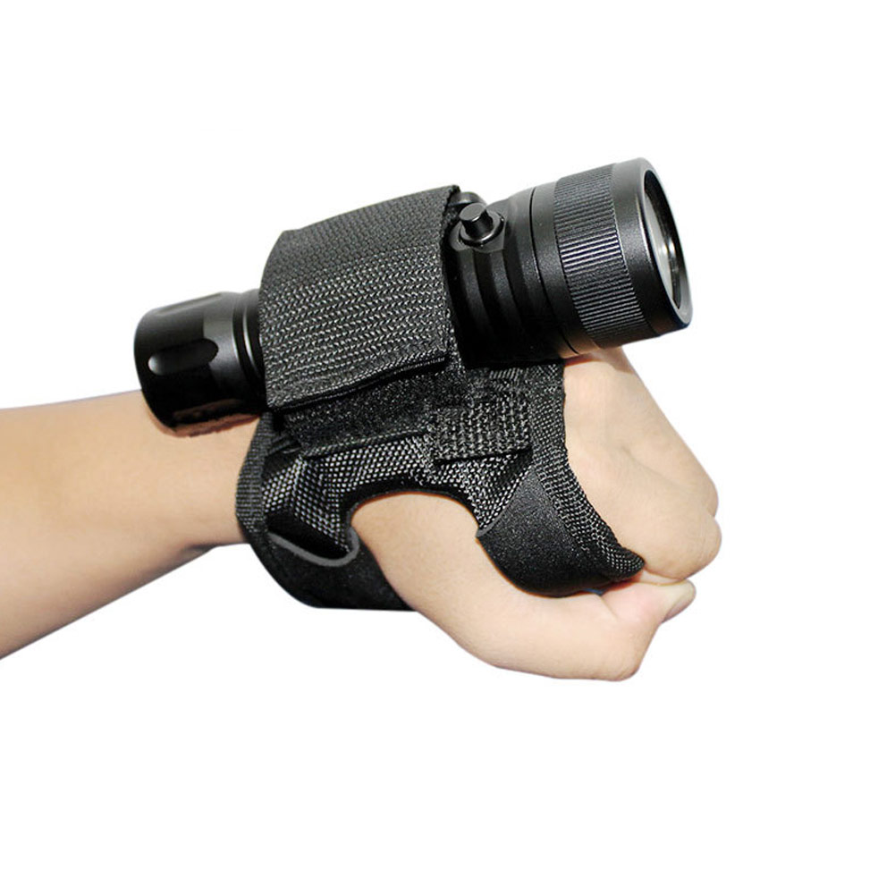 18-38 MM Diving Gloves Underwater Scuba Diving Dive LED Torch Flashlight Holder Soft Black Hand Arm Mount Wrist Strap Glove