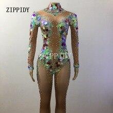 多色スパンコールラインストーンマーメイドロンパースレギンスクリスタル女性衣装祝うストレッチスーツ歌手ダンサー服