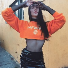 JSMY New Womens INS Style Sexy Flower Print Loose Long Sleeve Short Orange Top Slim Expose Navel Casual Pullover
