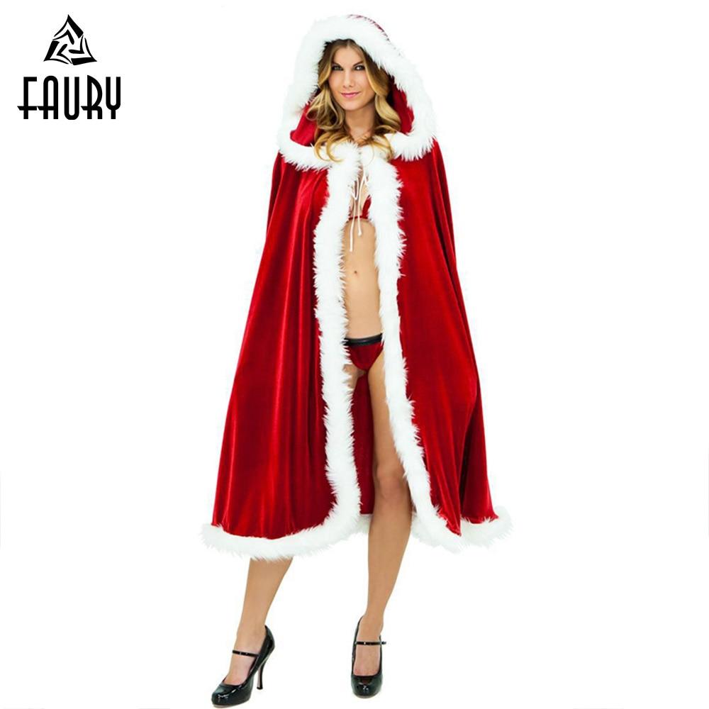 Christmas Cosplay Costume Mrs Santa Claus Velvet Fur Cloak Red Cloak Riding Hood Christmas Cloak KID's Party Hooded for Women