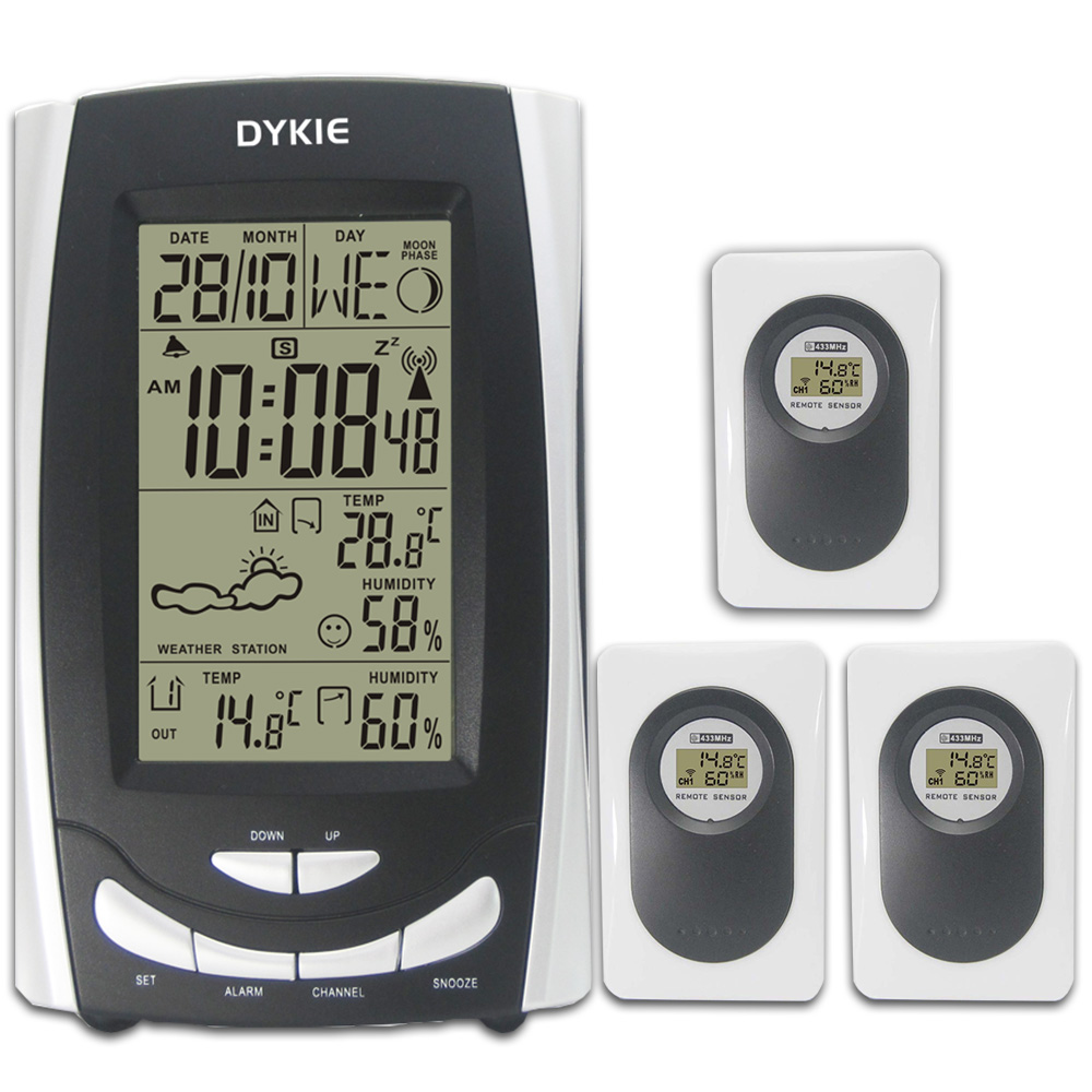 DYKIE RF RCC Radio Controlled Wireless Weather Station Alarm Clock with Indoor Outdoor Temperature Humidity 3 Transmitters