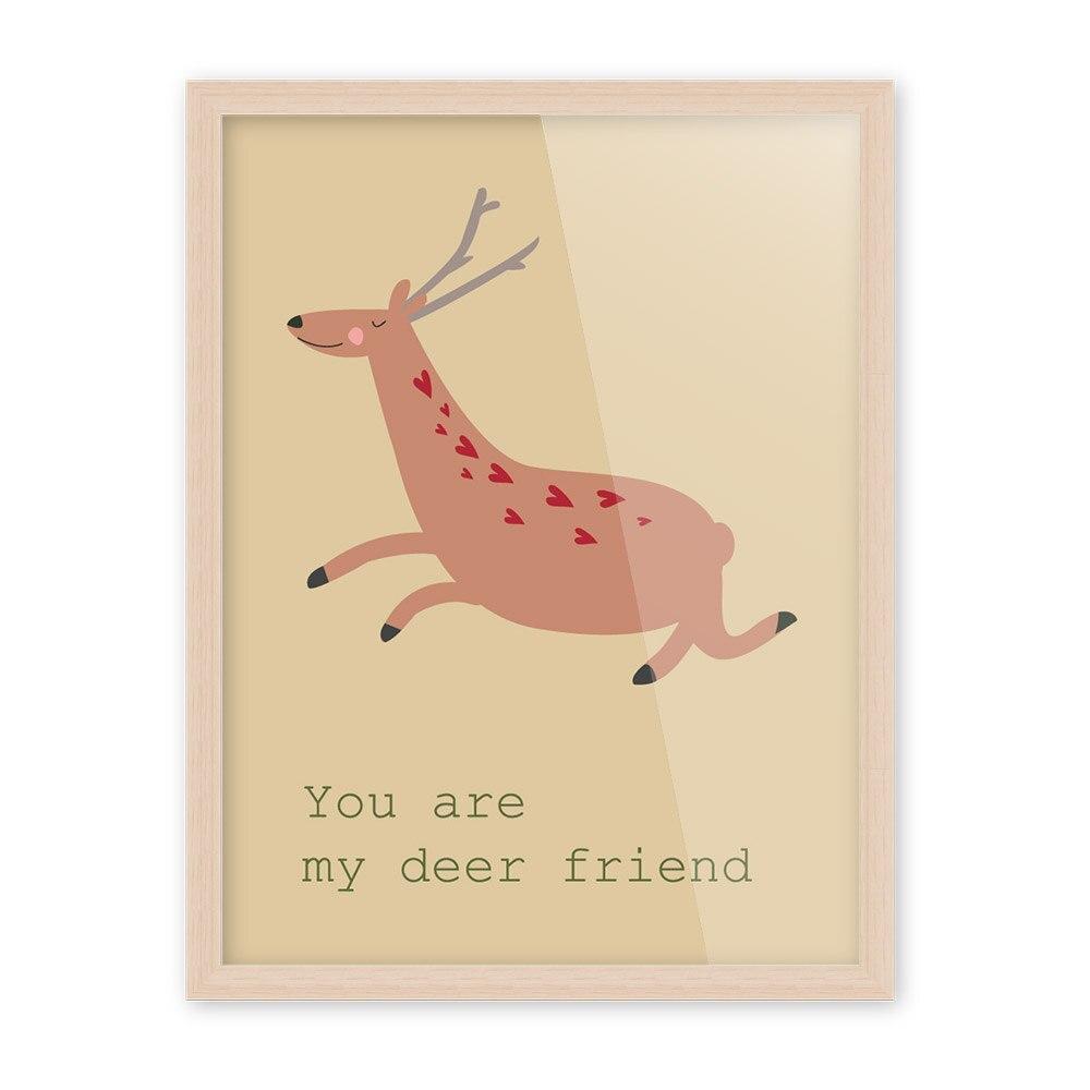 Nordic Kawaii Animals Deer Bear Art Prints Poster Funny Quotes Wall ...