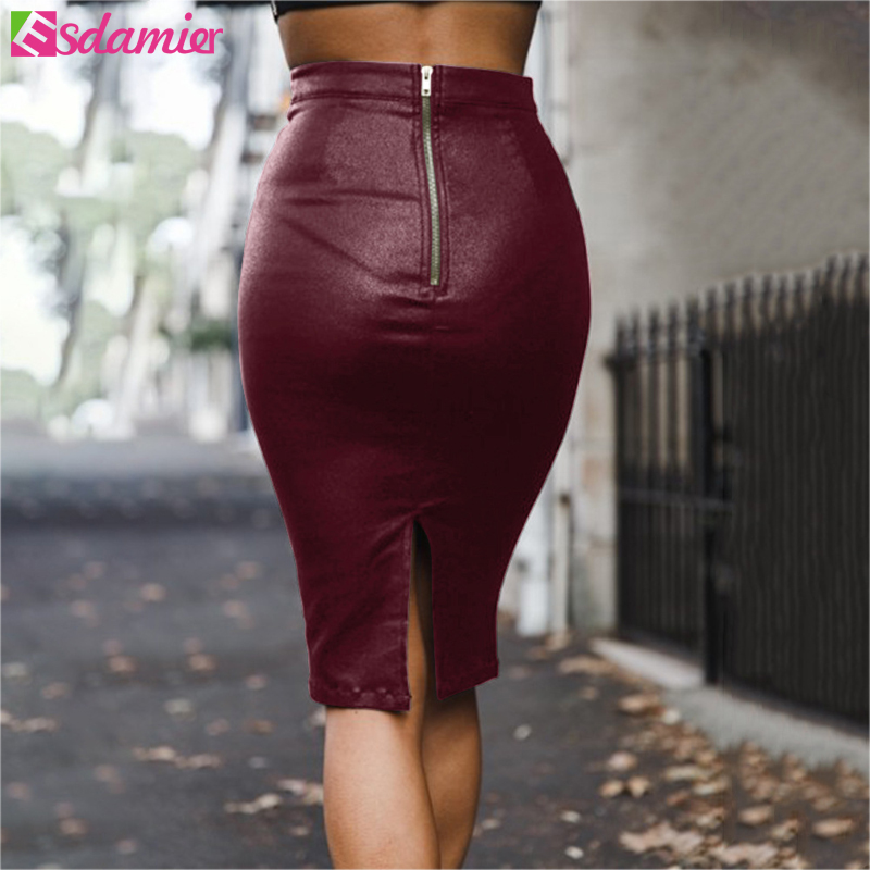 ESDAMIER 2018 Women PU Leather Midi Skirt Solid Color High Waist Slim Hip Pencil Skirt Autumn Winter Office Ladies Bodycon Skirt