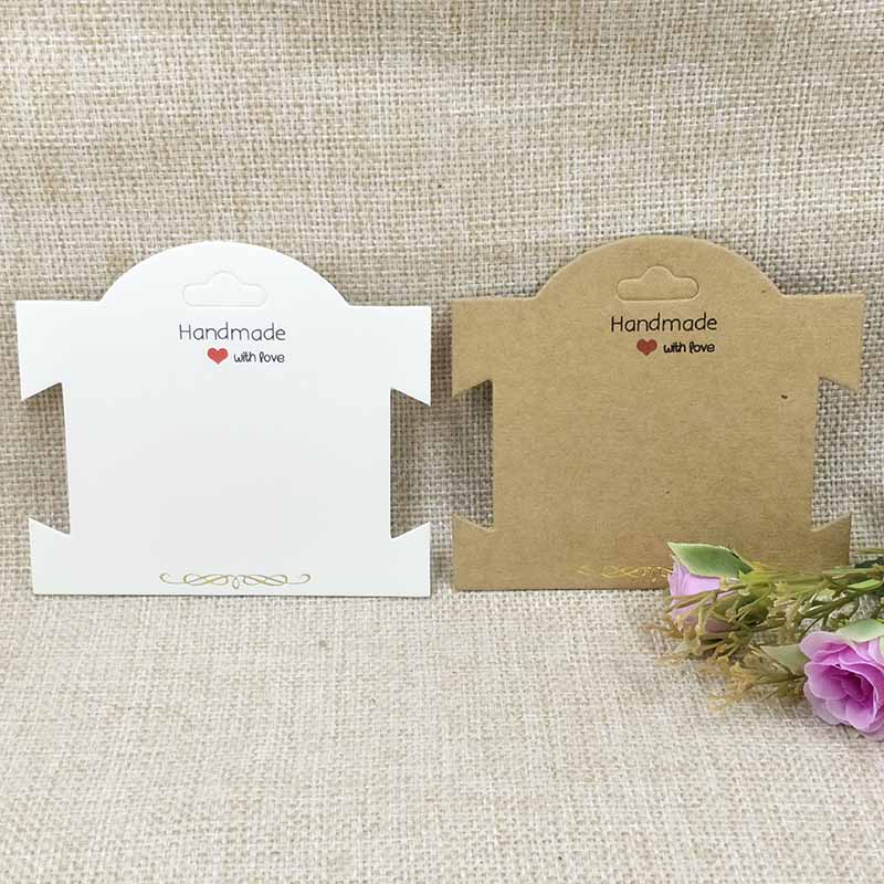 2018 NEW Design 100PCS New Kraft White Chock Necklace Card Bracelet Hair Band Card Handmade With Love Hair Clip Card 10x8cm in Jewelry Packaging Display from Jewelry Accessories