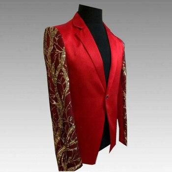 European and American men's suit nightclub costumes male 2019 new red men's plus velvet casual blazer