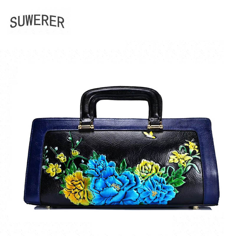 2018 New women bag genuine leather brands top cowhide Hand-painted peony flower fashion tote women handbags shoulder bag 2018 new women bag genuine leather brands top quality cowhide chinese style embossed women handbags fashion leather tote bag