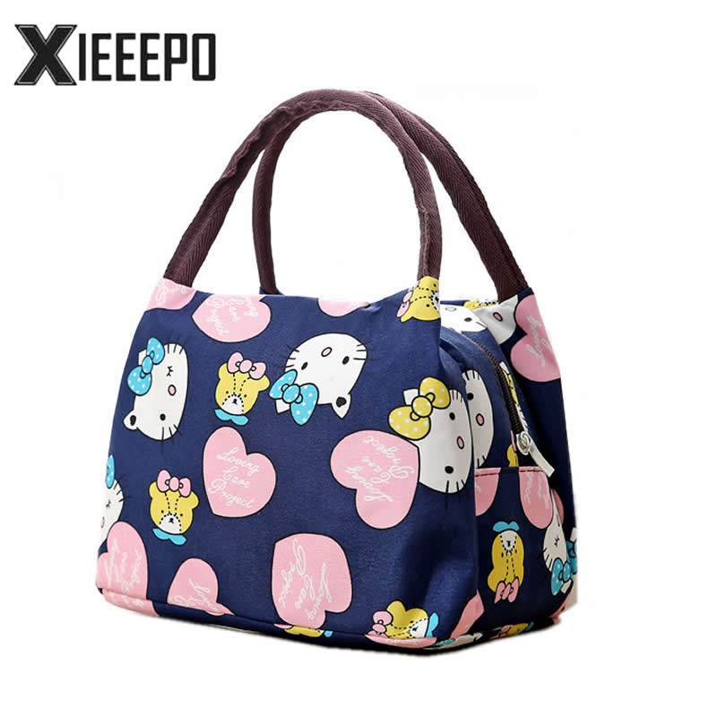 Girl Cartoon Hello Kitty Lunch Bag Portable Insulated Cooler Bags Thermal Food Picnic Lunch Bags Women Kids Lunch Box Tote shoulder lunch bag tote women kids thermal insulated cooler storage picnic food drink bento box accessory supply products stuff