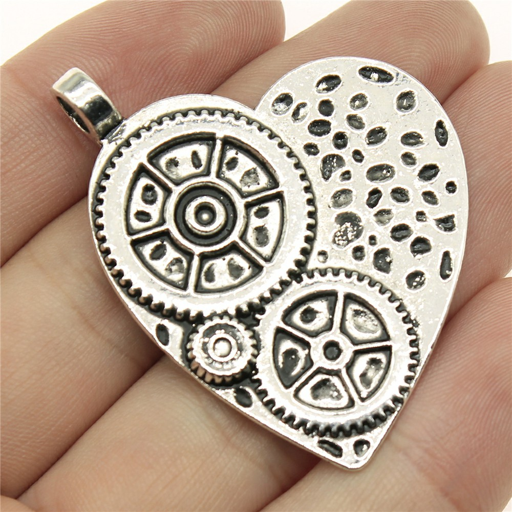 WYSIWYG 2pcs 48*38mm Heart gear Pendants Charms Findings Jewellery Making Findings for DIY Craft