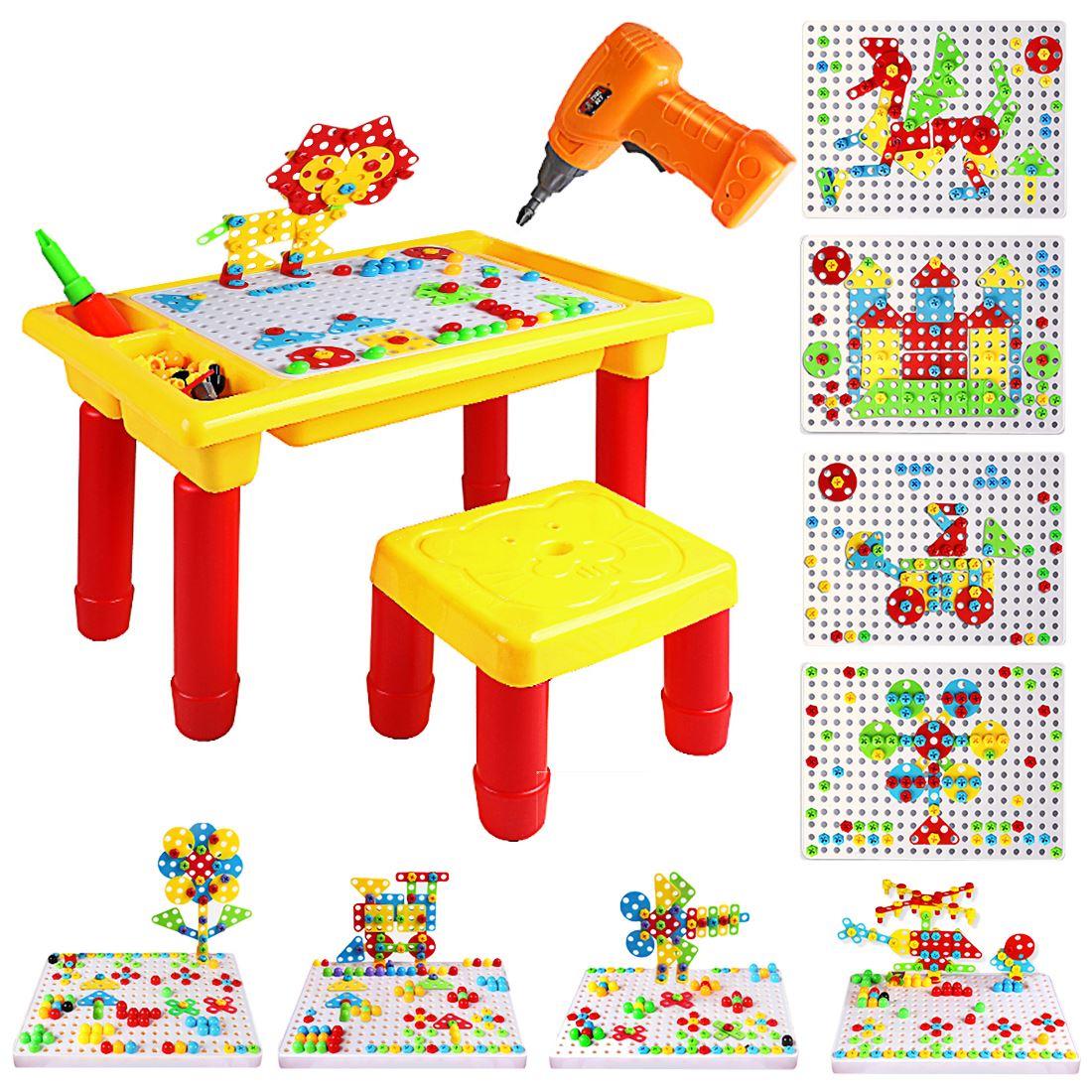 Enfants semblant jouer perceuse électrique tournevis outil de démontage Table en bois ensemble de jeu puzzle jouets pour enfants